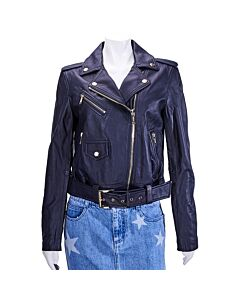 Michael Kors Ladies Navy Classic Leather Moto Size X-Large