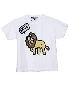 Michaela Buerger Girls T-Shirt White Smiling Lion T-Shirt