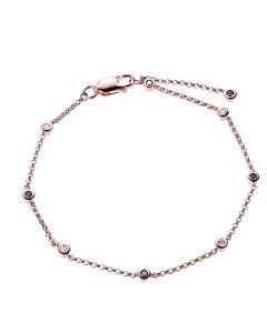 Morgan & Paige 10K Rose Gold Alternating Black and White Diamond Station Bracelet
