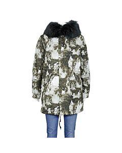 Mr-&-Mrs-Italy-Ladies-Army-Printed-Nylon-Parka-Midi,-Brand-Size-X-Small