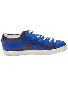 Pierre Corthay Men's Dark Blue Sneakers Patna Calf, Suede Tab, Brand Size 10