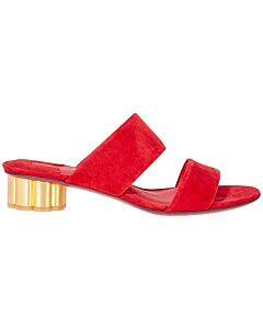Salvatore Ferragamo Flower Heel Sandal- Orange Red Size: 9