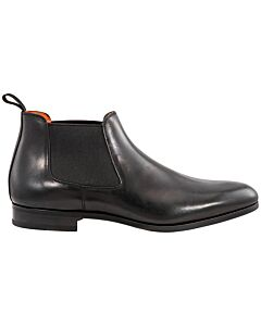 Santoni Black Men's Leather Ankle Boots - Size 6