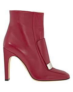 Sergio Rossi Ladies Leather Ruby Heeled Ankle Boots Size 39