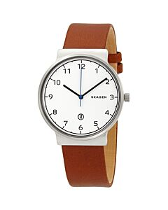 Men's Ancher Leather White Dial