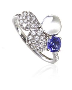 Tiffany Paper Flowers Diamond and Tanzanite Flower Ring, Size  5