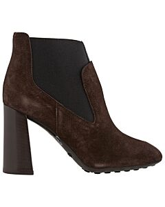 Tods WoMen's Chunky Heel Ankle Boots-Dark Brown/Black- Size 34