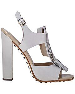 Tods WoMen's Fringed Leather Heels- Medium Grey, Shoe Size: 34.5, US 4.5