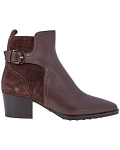 Tods Women's Leather And Suede Ankle Boots- Chocolate/ Dark Brown/  Size 34
