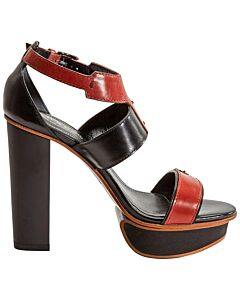 Tods WoMen's Leather High Heels- Cotto/Black, Shoe Size: 34.5, US 4.5
