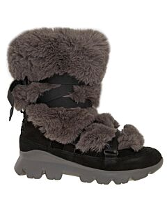 Ugg Ladies Black and Brown Misty Fur with Straps Boots Size 5