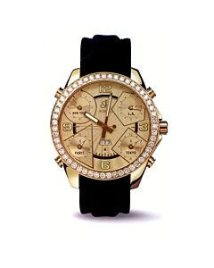 Unisex-Five-Time-Zone-Leather-Champagne-Dial