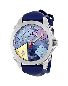 Unisex-Five-time-Zone-Polyurethane-Mother-of-Pearl---Multi-Color-Dial
