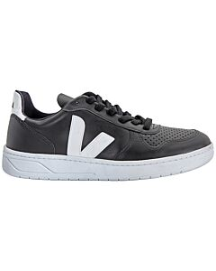 Veja Ladies V 10 Leather Black Sneakers, Brand Size 37 ( US Size 6 )