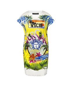 Versace Ladies Multicolor Dress Palm Medusa Size 42