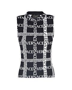Versace Logo Pattern Knit Top, Brand Size 36 (US Size 0)