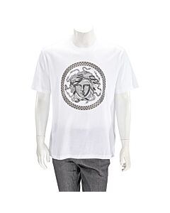 Versace Men's T-Shirt White W Medusa Embroid Size Medium