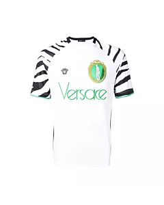 Versace Men's T-Shirt White Zebra Football Tee Size Medium