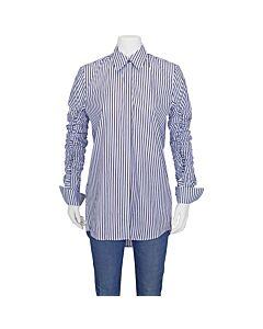 Victoria Beckham Ladies Woven Shirts Light Blue Gathered Sleeve Shirt, Brand Size 8