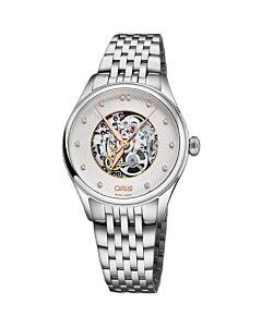 Womens-Artelier-Stainless-Steel-Silver-Skeleton-Center-Dial-Watch