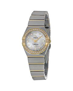 Women's Constellation Stainless Steel and 18kt Gold White Mother of Pearl Dial