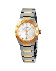 Womens-Constellation-Stainless-Steel-with-18kt-Yellow-Gold-Links-Silver-Dial
