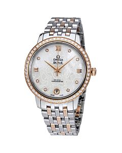 Women's De Ville Prestige Stainless Steel and 18kt Rose Gold White Mother of Pearl Dial