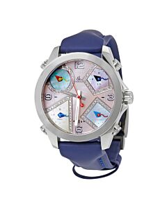 Womens-Five-Time-Zone-Polyurethane-Mother-of-Pearl-Dial