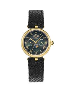 Women's Florence Leather Black Mother of Pearl Dial
