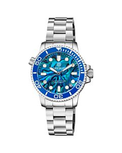 Women's Lizzy Blue Diver Stainless Steel Blue Abalone Shell Dial Watch