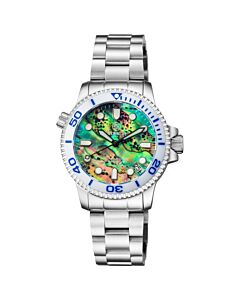 Womens-Lizzy-Blue-Diver-Stainless-Steel-Green-Abalone-Shell-Dial
