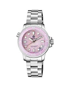 Women's Lizzy Blue Diver Stainless Steel Pink Mother of Pearl Dial Watch