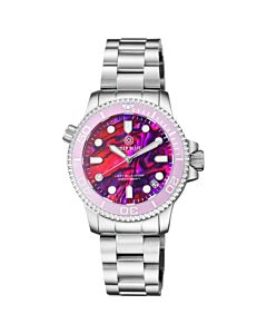 Women's Lizzy Blue Diver Stainless Steel Pink Abalone Shell Dial Watch