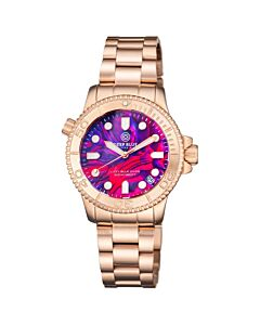 Womens-Lizzy-Blue-Diver-Stainless-Steel-Pink-Abalone-Shell-Dial