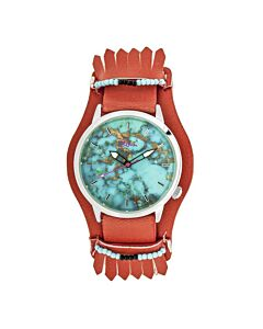 Women's Originaire Leather Turquoise Marbleized Dial