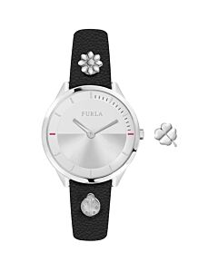 Women's Pin Leather Silver-tone Dial