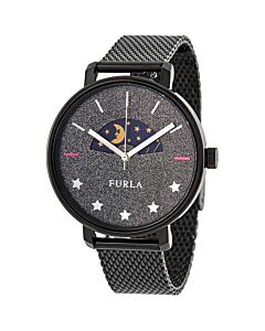 Women's Rea Stainless Steel Mesh Black Sparkle Dial