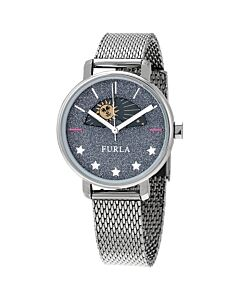 Women's Rea Stainless Steel Mesh Blue Sparkle Dial