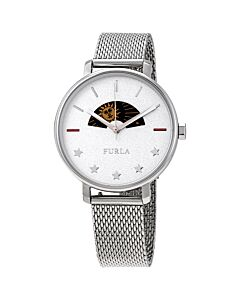 Women's Rea Stainless Steel Mesh White Sparkle Dial