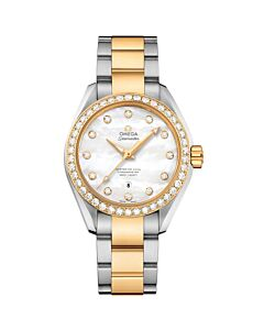 Women's Seamaster Aqua Terra 18K Yellow Gold and Stainless Steel White Mother of Pearl Dial