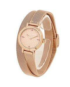 Women's Vittoria Stainless Steel Mesh Rose Gold-tone Dial