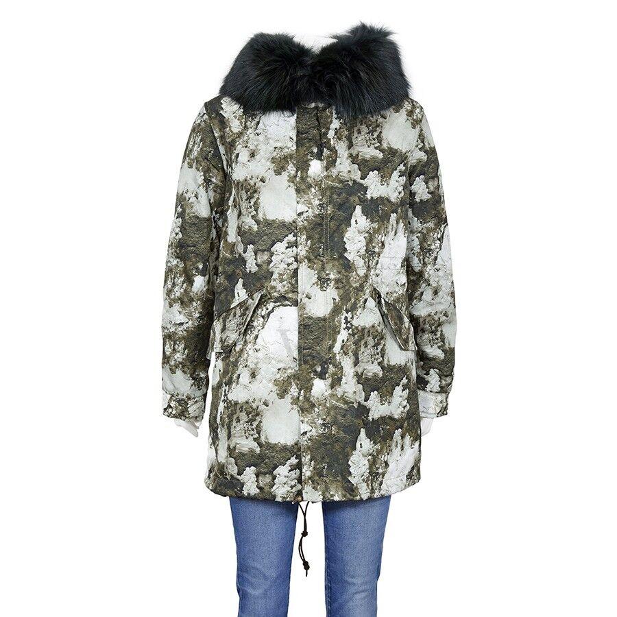 Ladies Army Printed Nylon Parka Midi, Brand Size XX-Small